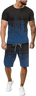 Ffoldey 2021 New Mens Short Tracksuit 2 Pieces Plus Size Tie-Dye丨Round Neck Short Sleeve Casual T-shirt+Elastic Waist Dry ...