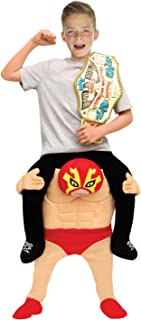 Kids Piggyback Mexican Wrestler Costume Ride On Child Illusion Carry Me Dress Up