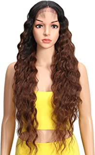 Joedir Lace Front Wigs 30'' Long Wavy Synthetic Wigs Ombre Black to Brown For Black Women 130% Density Wigs(TT1B/33)