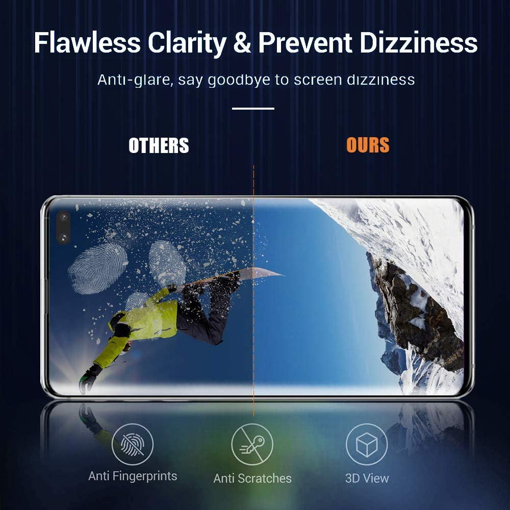 Screen Protector for Samsung Galaxy S20 Plus//S20+ 5G 6.7 Inch 2+2 with Camera Lens Protector 9H Tempered Glass Film HD Clear 3D Curved Full Coverage Fingerprint Unlock Support Bubble Free