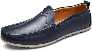 [XINXIKEJI] メンズ カジュアルシューズ 秋冬 コンフォート ビジネスシューズ ローカット 軽量 スリッポン 紳士靴 履き心地よい ブラウン ブラック ブルー