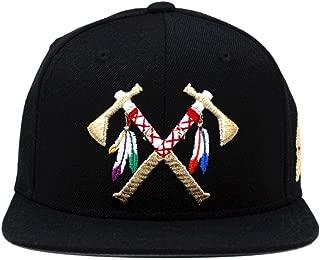 Crossed Tomahawks Leather Snapback