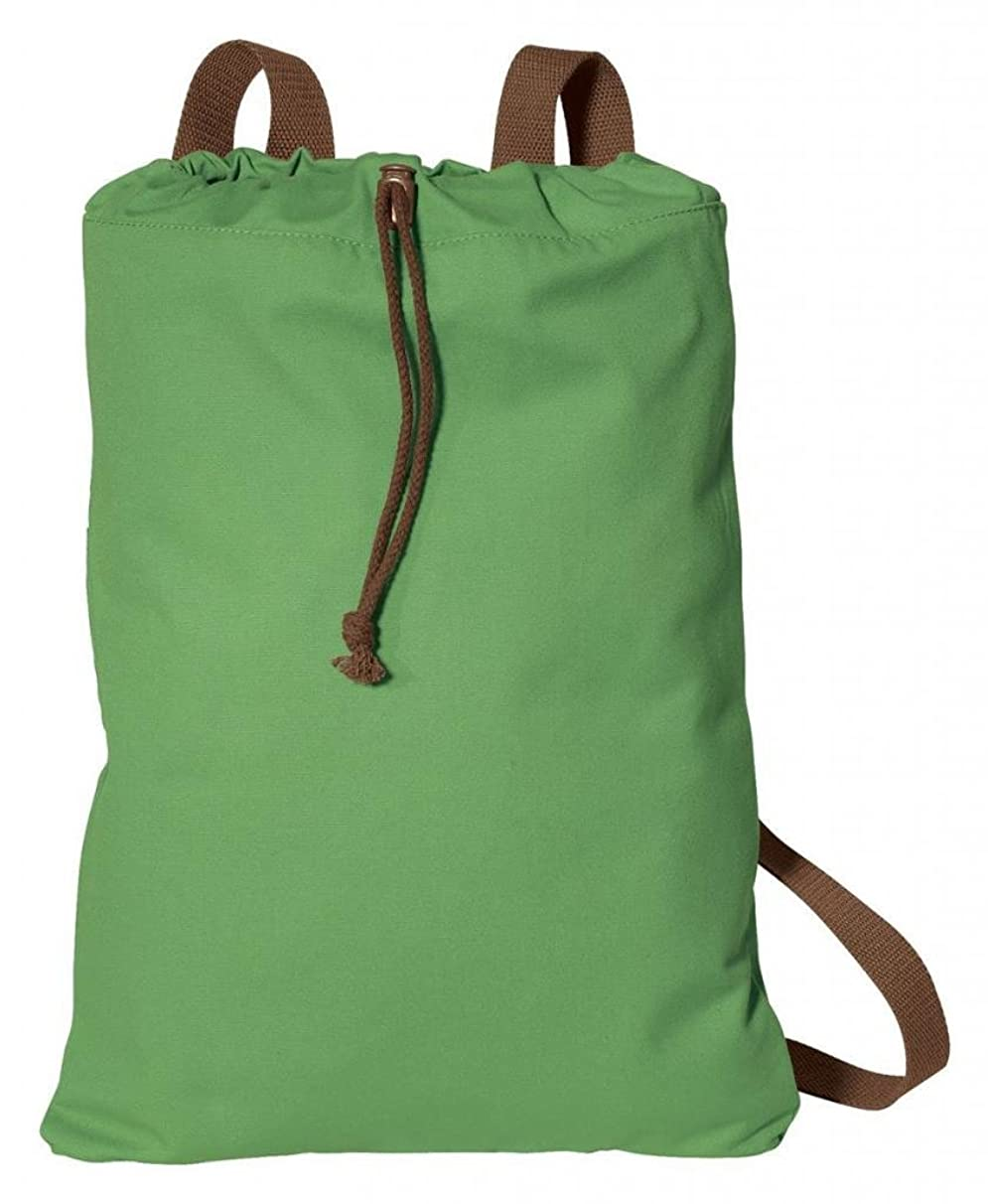Port Authority Canvas Cinch Pack Drawcord Toggle_soft green/chocolate_One Size