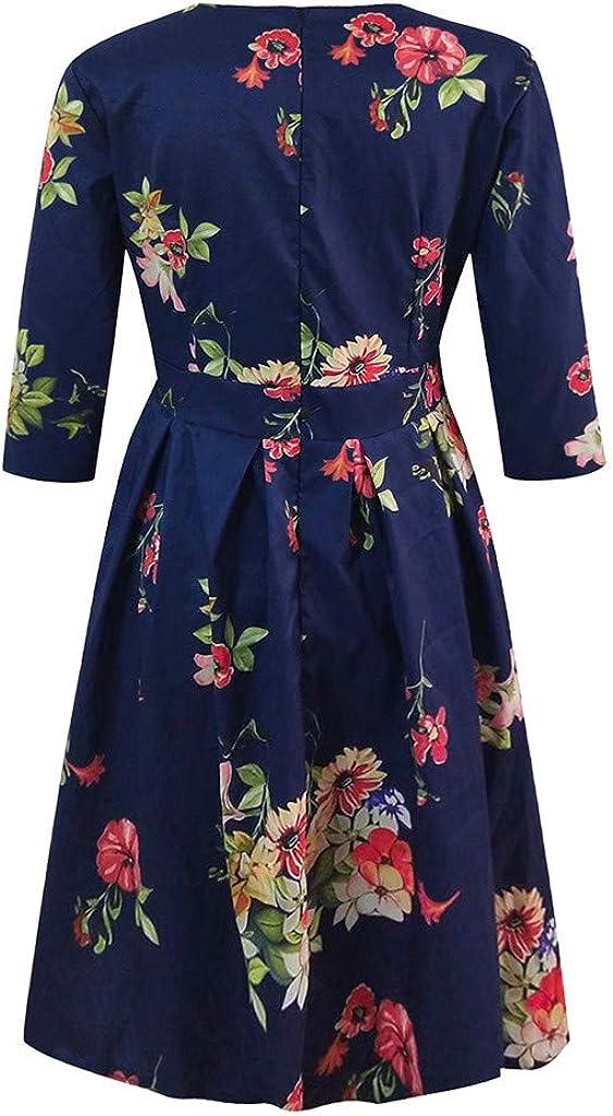 Womens Vintage A Line Dress Floral Print Bow Belt Sleeveless Ruffles Dresses