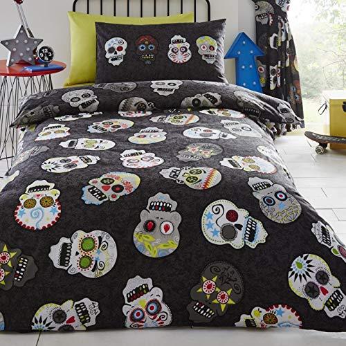 Portfolio Sugar Skulls Single Duvet set 1 Pillowcase Boys Bedroom-Black, Reversible, Polyester-Cotton