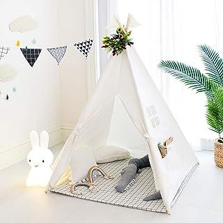 Tree Bud Kids Teepee tält, klassiskt indiskt lektält för barn, vikbart lekhus för inomhus- eller utomhuslek, bomullsduk ba...