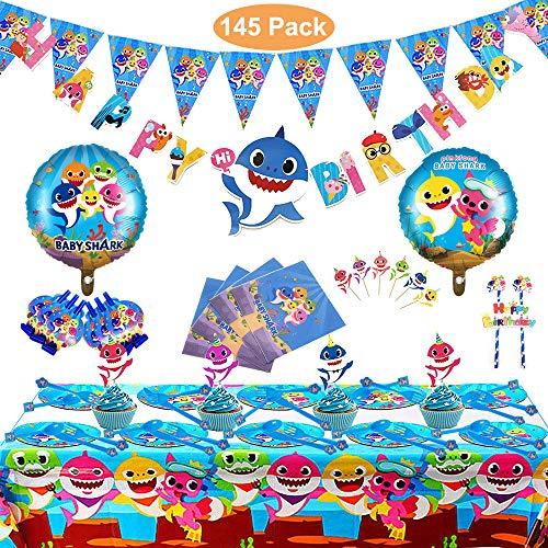 Magichui Satz von 145 Stück Shark Party Supplies Set, Shark Baby Geburtstag Dekoration, Shark Party Dekoration, Kinder Karneval Party Supplies Dekoration