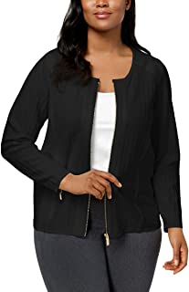 d6730c34a31 Calvin Klein Womens Plus Spring Knit Bomber Jacket