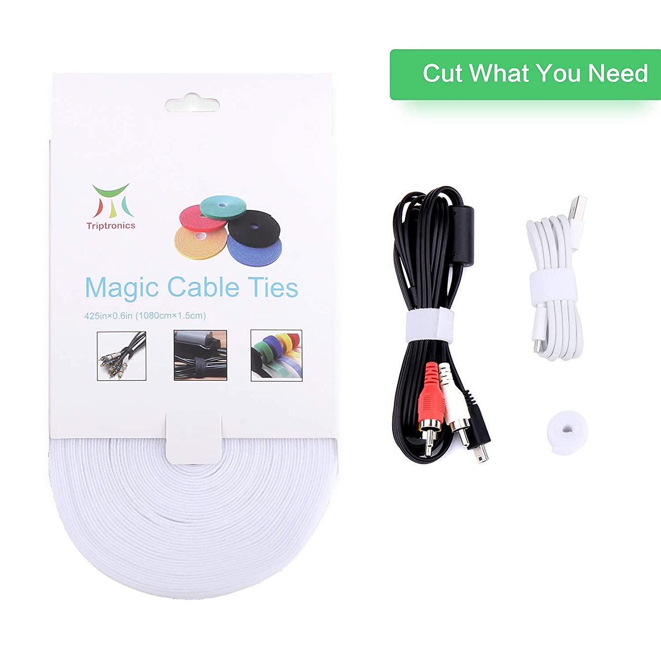 Roll Reusable Cord Organizer Keeper Holder, Fastening Cable Ties Straps for Earbud Headphones iPhone Wire Wrap Management, Hook and Loop Roll Cable Management … (White)