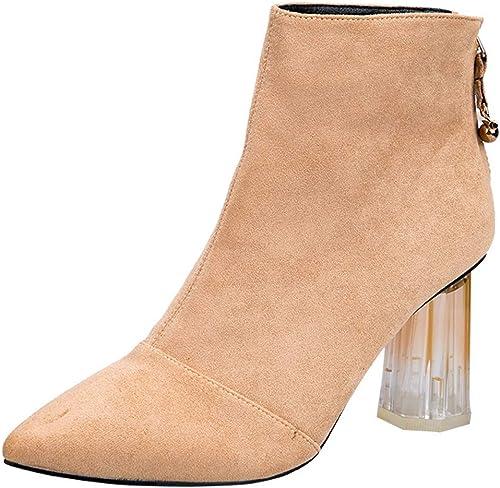 AJUNR Transpirable schuhe de damen Cristal con Stiefel Cortas Alto 8cm Wild Fashion Pointy Franela Grueso Tacon Stiefel Chelsea