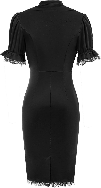Scarlet Darkness Women's Short Sleeve Bodycon Dress V Neck Office Midi Pencil Dress