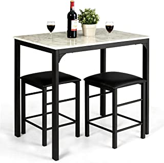 n-bright shop Faux Marble Table Top 3 Piece Counter End Coffee Mid Modern Height Dining Set Table and 2 Chairs Kitchen Bar