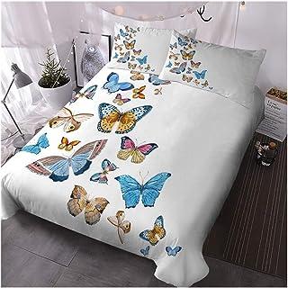 3°Amy Juegos de Fundas para edredón Mariposas Funda Nórdica Acuarela De La Mariposa del Lecho De Doble Muelle Blanca Colcha De Cama De Insecto Colorido De La Cubierta 3pcs #a