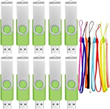 USB Flash Drive 128MB Pack of 10 USB 2.0 Memory Sticks - Small Capacity Zip Drive Swivel Pendrive - Green Data Stick Bulk Thumb Drives by FEBNISCTE