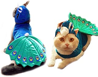 FLAdorepet Halloween Peacock Dog Cat Costume Outfits with Cat Hat Funny Small Pet Dog Cat Party Dress Clothes