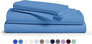 Comfy Sheets 100% Egyptian Cotton Sheets - 1000 Thread Count 4 Pc King Deep Blue Bed Sheet with Pillowcases, Hotel Quality Fits Mattress Up to 18'' Deep Pocket.