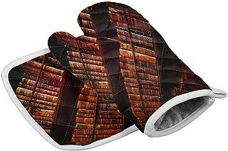 Hgfyef - Juego de guantes para horno y olla, diseño retro, color rojo