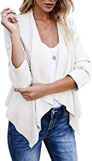 neveraway Womens Faux Suede Draped Lapel Open Front Cardigan Jacket Coat