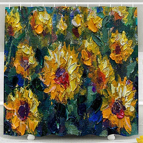 DINGQING Shower Curtain Sunflowers Palette Knife Painting Impressionism Field Yellow Orange The Green Textured Fragment Closeup Waterproof Bathroom Set 183X183Cm