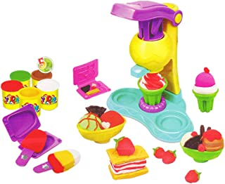 Beauenty Ice Cream Clay Toy Set Children Play Modeling Dough Ice Cream Double Twister Playset Toys Plasticine Mud with Bon...