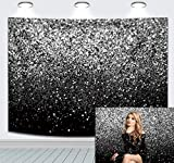 DANIU Black and Silver Photography Backdrop Durable Fabric Selfie for Birthday Party, Wedding, Graduation Prom,Gatsby Vintage Abstract Photo Booth Background Props