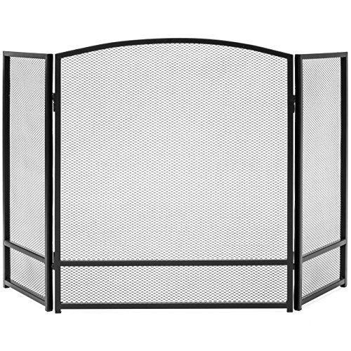 Best Choice Products 3-Panel 47x29in Simple Steel Mesh Fireplace Screen, Fire Spark Guard Gate for Living Room Home Decor w/Rustic Worn Finish