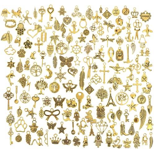 Yanyan Dije de oro envejecido mezclado liso tibetano mezcla de abalorios de metal plateado colgantes para hacer collares y pulseras y manualidades