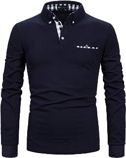STTLZMC Mens Long Sleeve Polo Shirts Plaid Collar Basic Casual T-Shirt