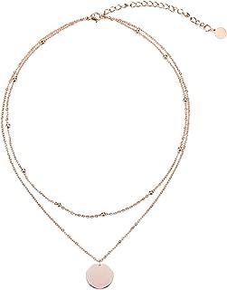 LEGITTA Disc Pendant Necklace Layered Titanium Steel Chain Choker in Rose Gold for Women Girls