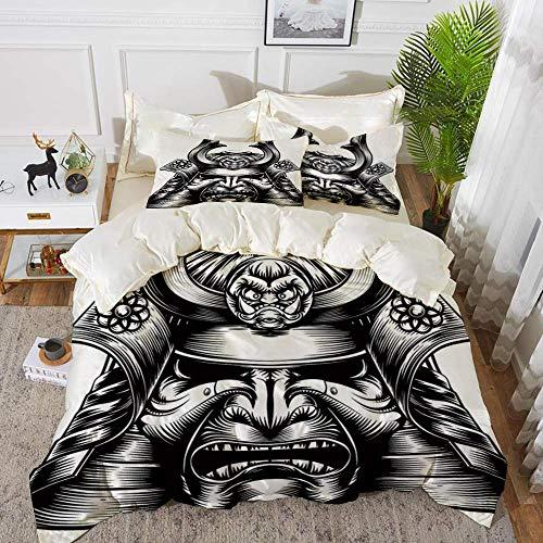 ropa de cama - Juego de funda nórdica, japonés, casco de máscara de samurai de demonio oriental de estilo vintage Pri de arte marcial de estilo oriental, juego de funda nórdica de microfibra h