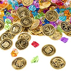The perfect addition to your pirate adventure themed event! Play a fun birthday activity or birthday game by burying a couple of these gold treasure tokens and colorful treasure gems in a treasure chest or wherever X marks the spot, and letting party...