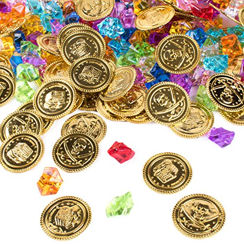 Pirate Plastic Gold Colored Coins Buried Treasure and Pirate Gems Jewelry Playset Activity Game Piece Pack Party Favor Decorations (120 Coins + 120 Gems)