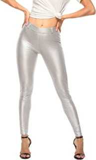 YOFIT Sexy Women Stretch High Waist Pants with Pockets Push Up Skinny Leather Leggings Wet Look Trousers