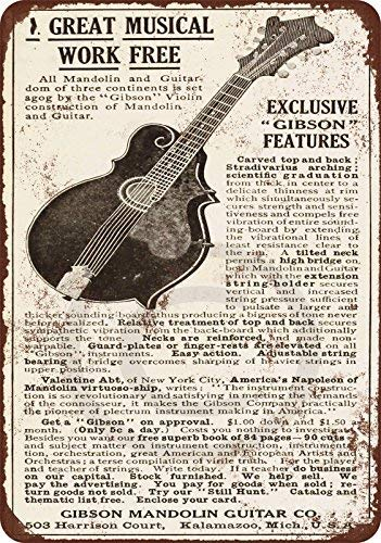 cwb2jcwb2jcwb2j 1911 Gibson Gitaren en Mandolijnen reproductie metalen tin bord 8 x 12