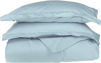 500 خيط 100% قطن ، طبقة واحدة ، 2 قطعة طاقم غطاء لحاف مزدوج XL ، لون أزرق فاتح