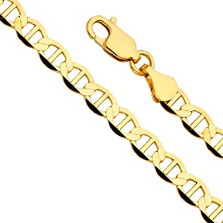 """TWJC 14k Yellow Gold Solid Men's 7.5mm Flat Mariner Chain Bracelet with Lobster Claw Clasp - 8.5"""""""