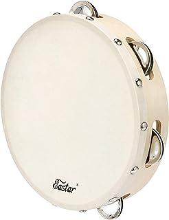 "Eastar Tambourine 8 ""Single Row Jingle Tambourine for بزرگسالان کودکان و نوجوانان چوبی سازهای تنبور برای کلیسا سازهای کوبه ای موسیقی دستی Handbell Clap Drum"