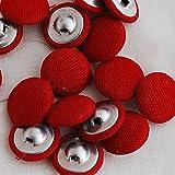 Surtido de 10 botones con cubierta de tela de aproximadamente 1,4 cm, en una selección de 20 colores diferentes para elegir, Rojo
