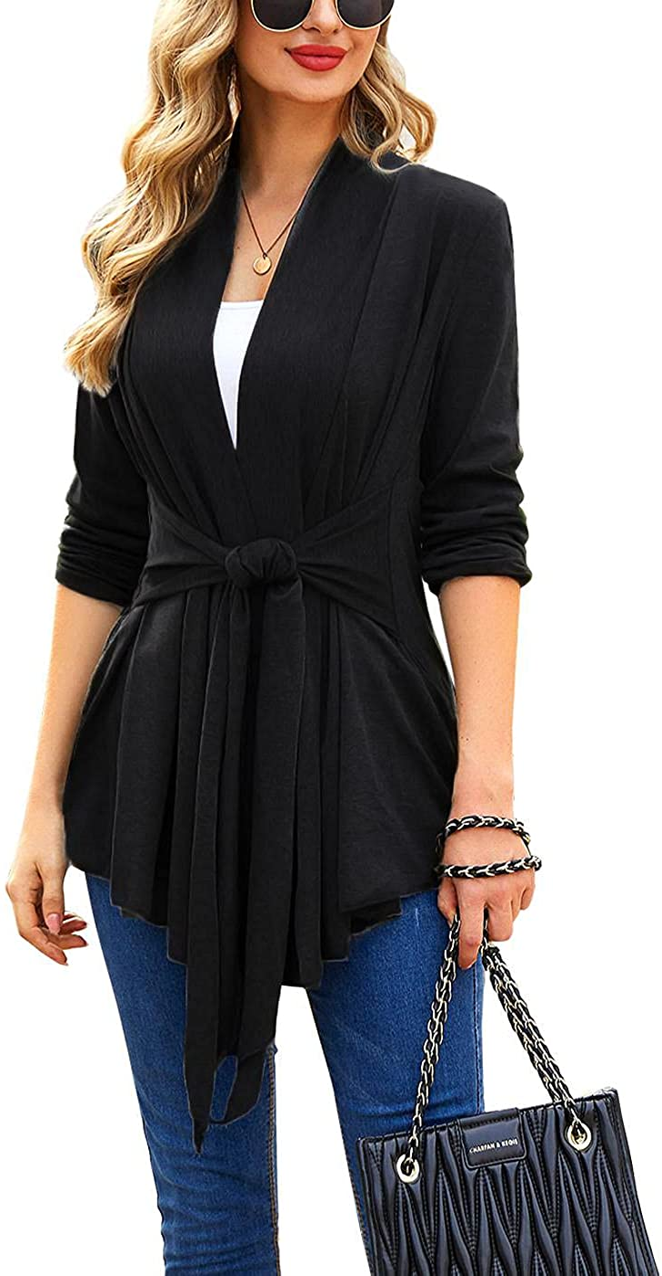 ACEVOG Women's Drape Cardigan Long Sleeved Open Front Cardigans Basic Irregular Hem Solid Dusters Lightweight Sweater