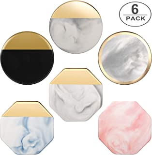 Coasters for Drinks, TUTUWEN Ceramic Adiabatic Stone Drink Coaster(6 Pcs) Marble Pattern Gold-plated with Non-Slip Cork Base [Non-Absorbent], Elegant Kitchen house Decor and housewarming Xmas Gift