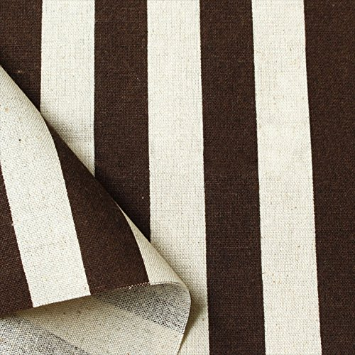 NBK 綿麻ナチュラルプリント生地 太ストライプ柄 110cm巾×1.5m切売カット ブラウン系 ICH29000-2J-150CM