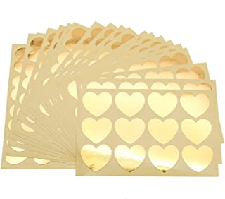 JETEHO 20 Sheet 240PCS Gold Heart Shape Foil Blank Certificate Self-Adhesive Sealing Stickers for Invitations, Certification, Graduation, Stationery, Paperwork,Corporate Seals