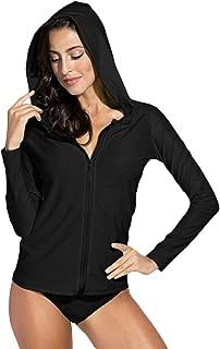 Spadehill Women's UV Sun Protection Zip Long Sleeve Hooded Rash Guard Swim Shirt Top