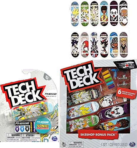 TECH DECK SK8 Rare & Sk8shop Bonus Pack Deluxe 6-Pack Series Board Set Skateboard Stunt Fingerboard Sonic Pack Bundled with Rare Graphics + Logo & Rad Skater Decals 7 Designs 2 Items