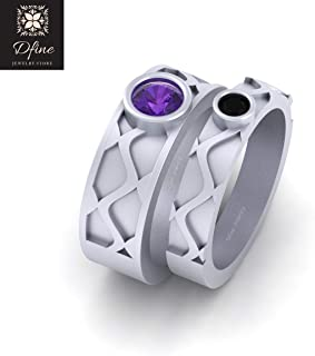 Solid 10k White Gold Purple and Black CZ Matching Anniversary Gift Band Set Joker and Harley Mad Love Inspired Couple Bands