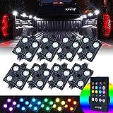 Xprite RGB LED Truck Bed Light Kit, Wireless Remote Pickup Cargo 8 Colors Rock Lights Kits w/ Cigarette Lighter, Universal for Cars Interior, Footwell, Underglow, Vans, UTV, ATV, Boats - 8 PCS