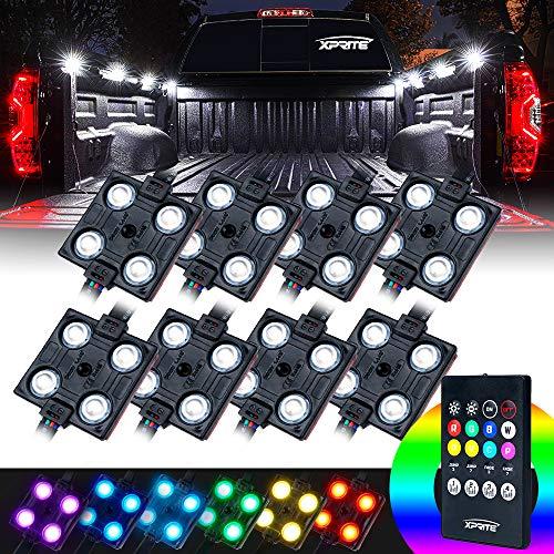 Xprite RGB LED Truck Bed Light Kit, 8 Colors Pickup Cargo Rock Lighting Kits w/Wireless Remote Control, Universal for Car Interior, Under Dash, Footwell, Underglow, Vans, UTV, ATV, Boats - 8 PCS