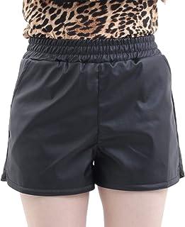 [RONDEL-BLACK(ロンデルブラック)] フェイクレザー ショートパンツ ダンス衣装 無地 黒 ブラック