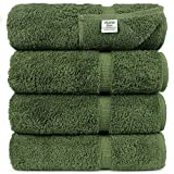 Chakir Turkish Linens Turkish Cotton Luxury Hotel & Spa Bath Towel, Bath Towel - Set of 4, Moss