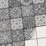 Fliesenmuster Deko-Folie Fliesen - Klebefliesen Mosaikfliesen Stickerfliesen I Fliesen-Folie Sticker Aufkleber Badezimmer deko Küche Wand-Fliesen überkleben I 20x20 cm - Motiv Black n White - 9 Stück